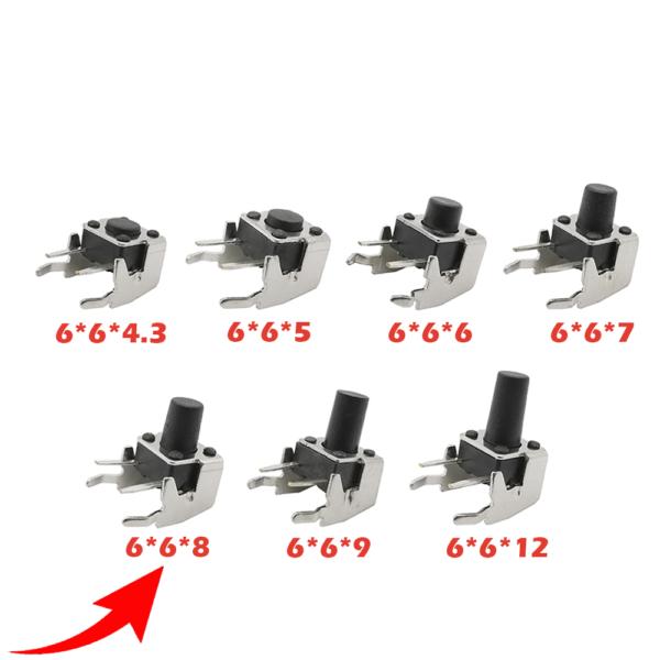10x Pulsador Tactil Micro interruptor angulo recto con stent soporte 6*6*8mm