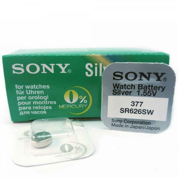 1x Pila Boton SONY Original 377 (sr626sw) 1,55V