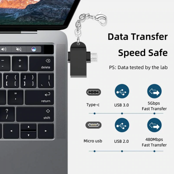 Adaptador OTG USB3.0 a TYPE-C + MicroUSB Android Transmisión de datos REF2008