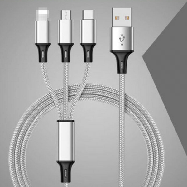 3 en 1 Multi Cable de Carga rapida 5V 2.4A nylon trenzado MicroUSB Tipo-C Lightning 1.2M Plata
