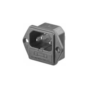 Conector Corriente AC IEC C14 Chasis Macho 10A 250V 3 pines con Portafusible