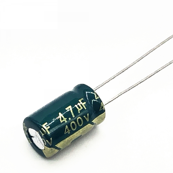 5x CONDENSADOR ELECTROLITICO 4.7uF 400v LOW ESR 105º C 8x12 MM