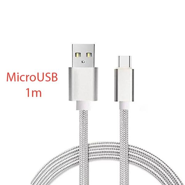 CABLE MICRO USB ALUMINIO TRENZADO NAYLON PLATA 1M