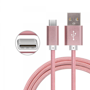CABLE USB-C ALUMINIO TRENZADO NYLON  MOVIL TABLET TIPO C ROSA 1m