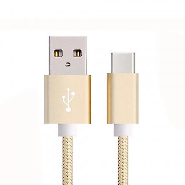 CABLE USB-C ALUMINIO TRENZADO NYLON  MOVIL TABLET TIPO C ORO 1m