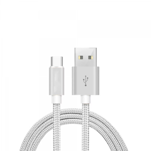 CABLE USB-C ALUMINIO TRENZADO NYLON  MOVIL TABLET TIPO C PLATA 1m
