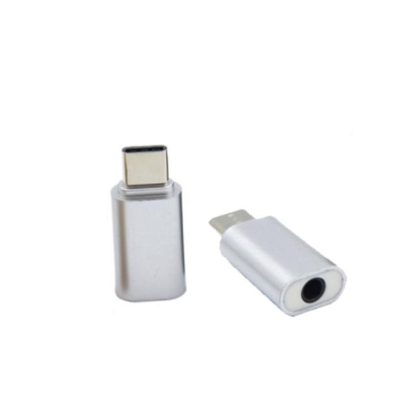 ADAPTADOR USB-C TIPO C 3.1 A JACK HEMBRA 3.5MM HUAWEI XIAOMI COLOR PLATA REF2057