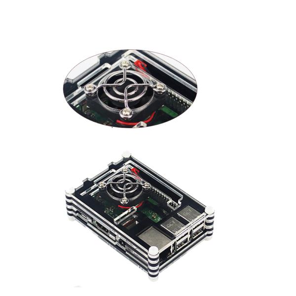 Carcasa Raspberry Pi 3B + / 3B Acrilica 9 capas Negro + Ventilador + Rejilla REF2098
