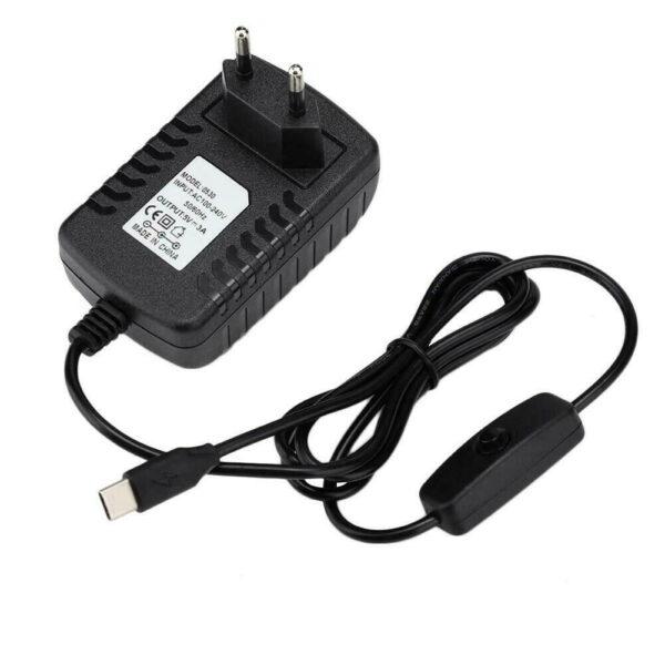 Cargador transformador 5V 3000mA USB tipo C con Interruptor para Raspberry Pi 4 Model B