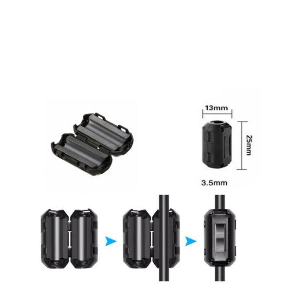 Anillo de ferrita con clip filtro interferencias magneticas